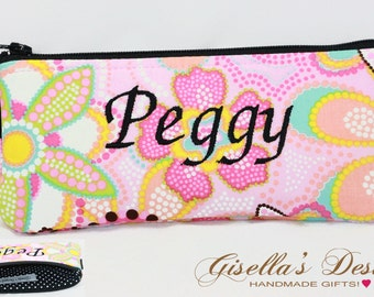Personalized eye Glasses Case, Reading glasses Case, Purse organizer, zipper pouch