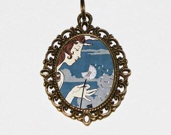 Dandelion Lady Necklace, Dandelions, Art Nouveau, Flower Woman, Goddess, Oval Pendant