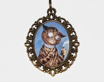 Cat Necklace, Cigar, Smoking Cats, Louis Wain, Cat Jewelry, Oval Pendant
