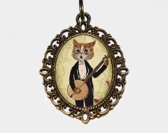 Cat Necklace, Banjo Jewelry, Animal, Music, Bronze Oval Pendant