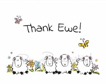 Printable Thank You Card - Thank Ewe