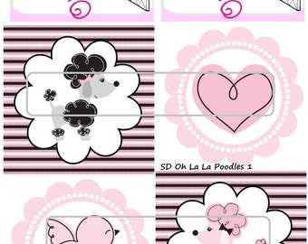 "DIY Printable ""Oh La La Poodles 1"" Shrinkable Digital Images (JPEG File)"