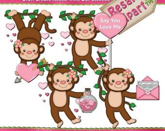 Monkey Love Girls 1 Clipart (Digital Download)
