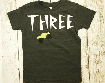 Ready to Ship third birthday shirt monster truck shirt size 8 Boys birthday shirt truck party