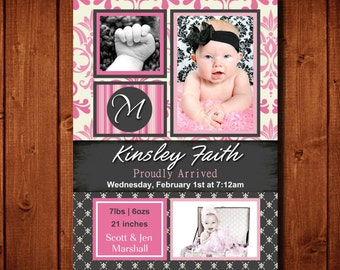 Kinsley Birth Announcement Digital File or add prints Front and Back