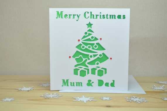 Laser Cut Personalised Christmas Tree Christmas Card