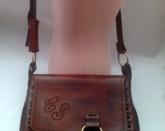 Vintage 1990's Large Tooled Leather Handbag Purse with CS Intials and Humpback Whales