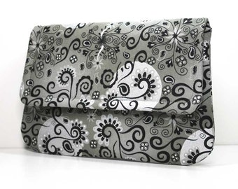 Clutch - Black with Silver Metallic on Gray with 2 Pockets - Optional Shoulder Strap or Detachable Wrist Strap - Made to Order