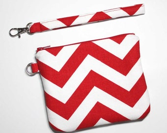 Small Wristlet Clutch - Red and White Chevron with Detachable Wrist Strap - 2 Pockets - Ready to Ship