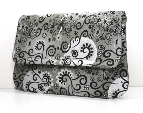 Clutch - Black with Silver Metallic on Gray with 2 Pockets -  Made to Order