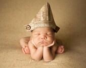 "Baby Sailor Hat, Newborn Fabric ""Newspaper"" Hat, Brown Vintage Inspired Print, Newborn Photography Prop, Newspaper Hat, Baby Boy Hat"
