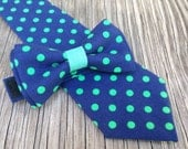 Navy Bow Tie - Navy Bowtie- Navy and Green Tie - Navy Wedding - Ties for Boys - Groomsmen's Ties - Tie for Baby - Father and Son Tie