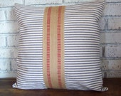 French Country Pillow Cover, Ticking Stripe Pillow with Jute Accent, Decorative Pillow, Nautical Decor, Coastal Decor, French Country Decor