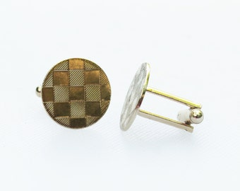 Vintage Gold Round Checkerboard Cuff Links