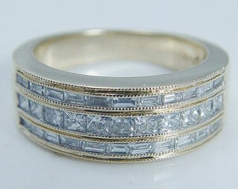 Estate Jewelry 14K Yellow Gold 1.20ct VS1/G Diamond Wide Band Ring