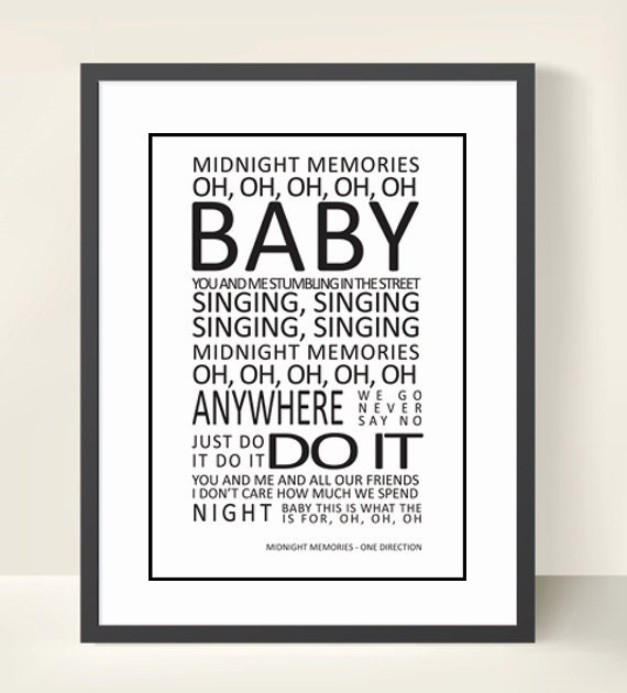ONE DIRECTION / 1D Lyrics Print Wall Art - Midnight Memories - 8 ...