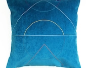 SALE Embroidered 'Outlines' cushion Turquoise *Reduced further*