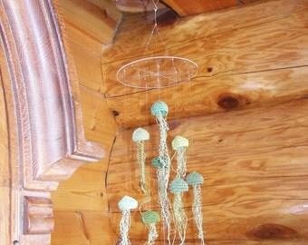 Green Crochet Jellyfish Mobile