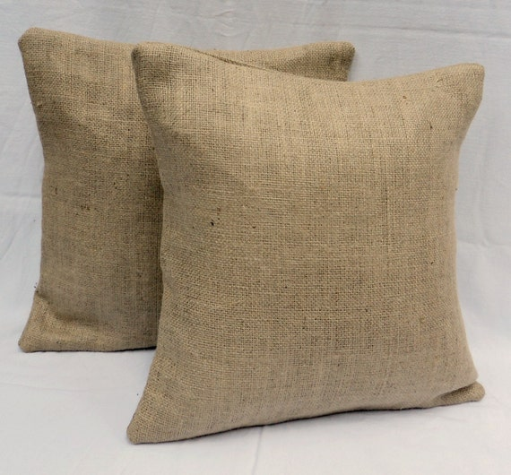 "2 Burlap Pillow Covers 14"" x 14"" or 16"" x 16"" Shabby Chic Home Decor Rustic Burlap Pillow"