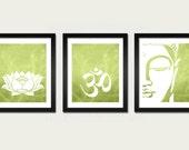 Namaste Set 3 Prints Lotus, Om and Buddha Wall Art Prints Modern Yoga Zen Meditation Inspirational Living Room Prints