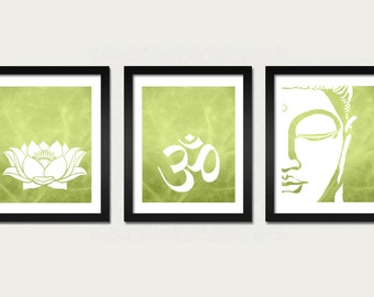 Namaste Set 3 Prints Lotus, Om and Buddha Wall Art Prints Modern Yoga Zen Meditation Inspirational Living Room Prints