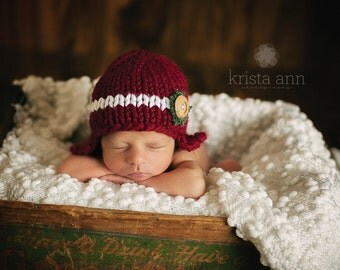 Knit Button Beanie in Red with Button and Burlap, Newborn Photography Prop, Red and White Newborn Christmas Hat