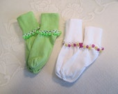 READY TO SHIP - 2 pairs of Girls Cuff Socks with Beaded Trim - Lime Green and White