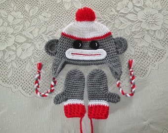 Sock Monkey Crochet Hat and Mitten Set - Photo Prop - Available in Baby to Toddler Size - Any Color Combination