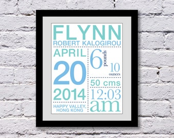 Baby Birth Announcement Print with Stats: You choose colors - 11x14 inches