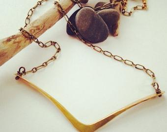Hammered brass chevron necklace