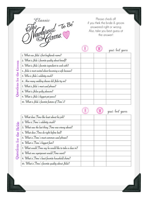 The Newlywed Game Wedding Shower Game Bachelorette Party