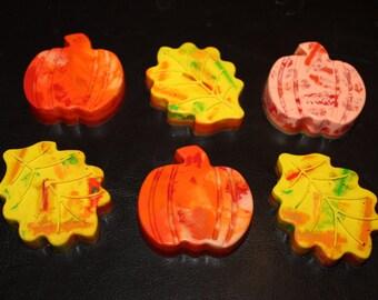 Recycled Crayons. Pumpkin. Pumpkin Crayons. Fall. Kids Crayons. Party Favors. Leaf Crayons. Leaf. Set of 6 Crayons. Rainbow Crayons.