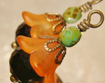 Black and orange Fall bead drop dangles diy jewelry earrings