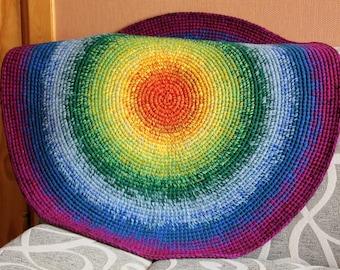 Happy Rainbow Rug, 35'' to 45'' in diameter, made of wool