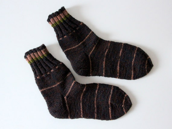 Excellent in hiking or country boots, Strong hand knit wool socks for men, large US mens size 9-10, EU size 43