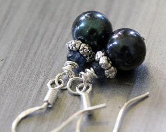 Blue Green Peacock Pearl Blue Sapphire Sterling Silver Drop Earrings