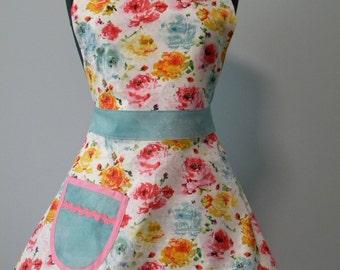 Womens Apron-Watercolor Floral Full Sweetheart Apron