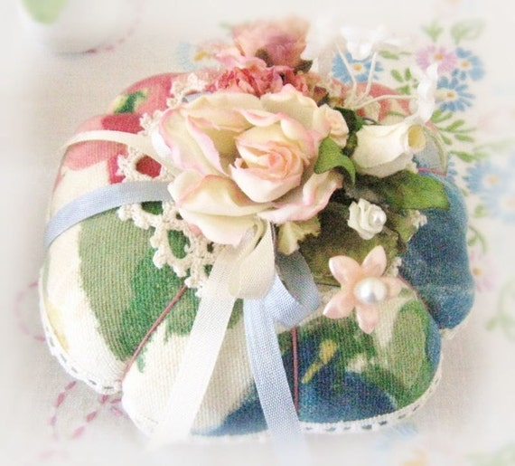 Pincushion Handmade Pin Keeper Floral Decorator Fabric