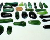 Green and Streaked Recycled Glass Kiln Formed Cabs or Mosaic Tiles 25 Pieces (B683)