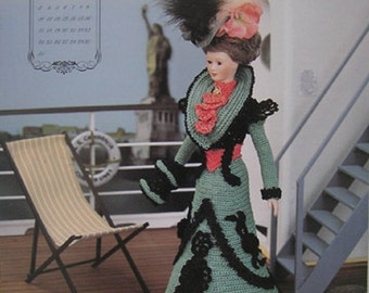 Annie's Attic Crochet Bed Doll Pattern December 1995 Turn of Century Barbie Doll Dress