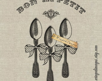 Bon Appetit Instant Download Digital Image No.191 Iron-On Transfer to Fabric (burlap, linen) Paper Prints (cards, tags)