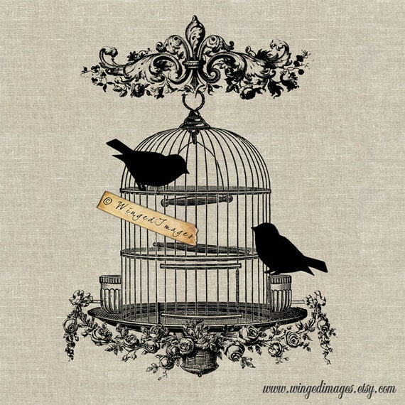 Vintage Bird Cage Instant Download Digital Image No.52 Iron-On Transfer to Fabric (burlap, linen) Paper Prints (cards, tags)