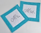 Mr and Mrs Coasters - Mug Rugs - Wedding Gift - Engagement Gift - Bridal Shower Gift - Anniversary Gift - Turquoise - Hand Stitched
