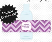 Editable Pink and Purple Party Bottle Labels - Instant Download PDF Template - Editable Water Bottle Wrappers .. ppc01