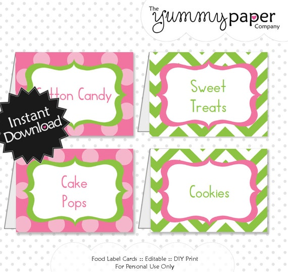 Editable Green And Pink Chevron Party Food Labels Instant