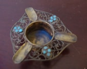 Very old small sterling sliver ashtray with light blue inlayed stones