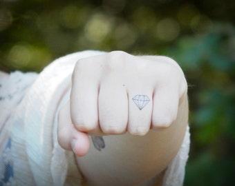Diamond Tattoo - Temporary Tattoo - Knuckle Tattoo - Ring Finger/Hand Tattoo - Set of 2