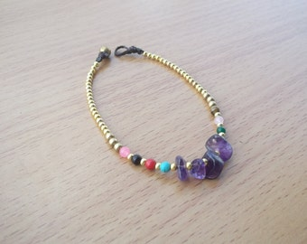 Thailand Handmade jewelry  Amethyst stone simple anklet For summer gift New Collection Arrived on July /Cute & Charm /Thailand
