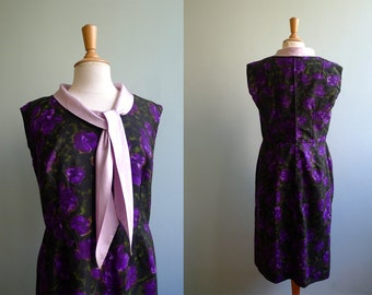 50s dark green & purple wiggle sleeveless bow tie dress L