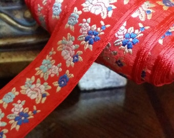 """1.125"""" Red Vintage French Jacquard  woven ribbon trim with embroidered florals #901-02"""